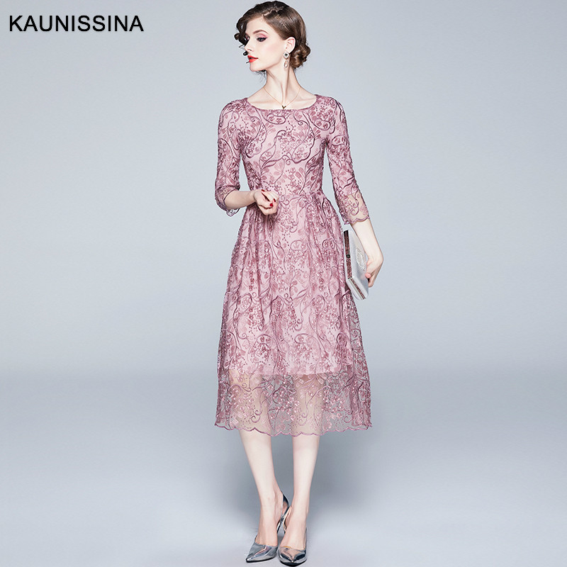 KAUNISSINA Luxuxy Embroidery Cocktail Dresses 3/4 Sleeve Elegant Formal Party Gown A-Line Homecoming Dress