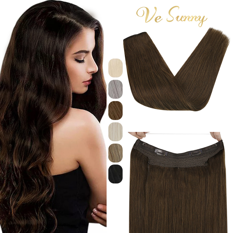 VeSunny Transparent Wire Hair Extensions Human Hair Brown Machine Remy Hair Invisible Fishing Wire with 2 Clips