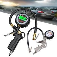 Neoteck digital medidor de pressão dos pneus inflator pneu calibre 200 psi carro pneu ar pressão do veículo inflação pneu inflator|Medidores de pressão| |  -