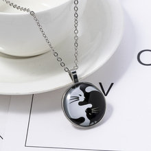Necklaces-Yin Accessorie Cats-Pendant Jewelry Long-Statement Vintage Women Yang Glass Cabochon