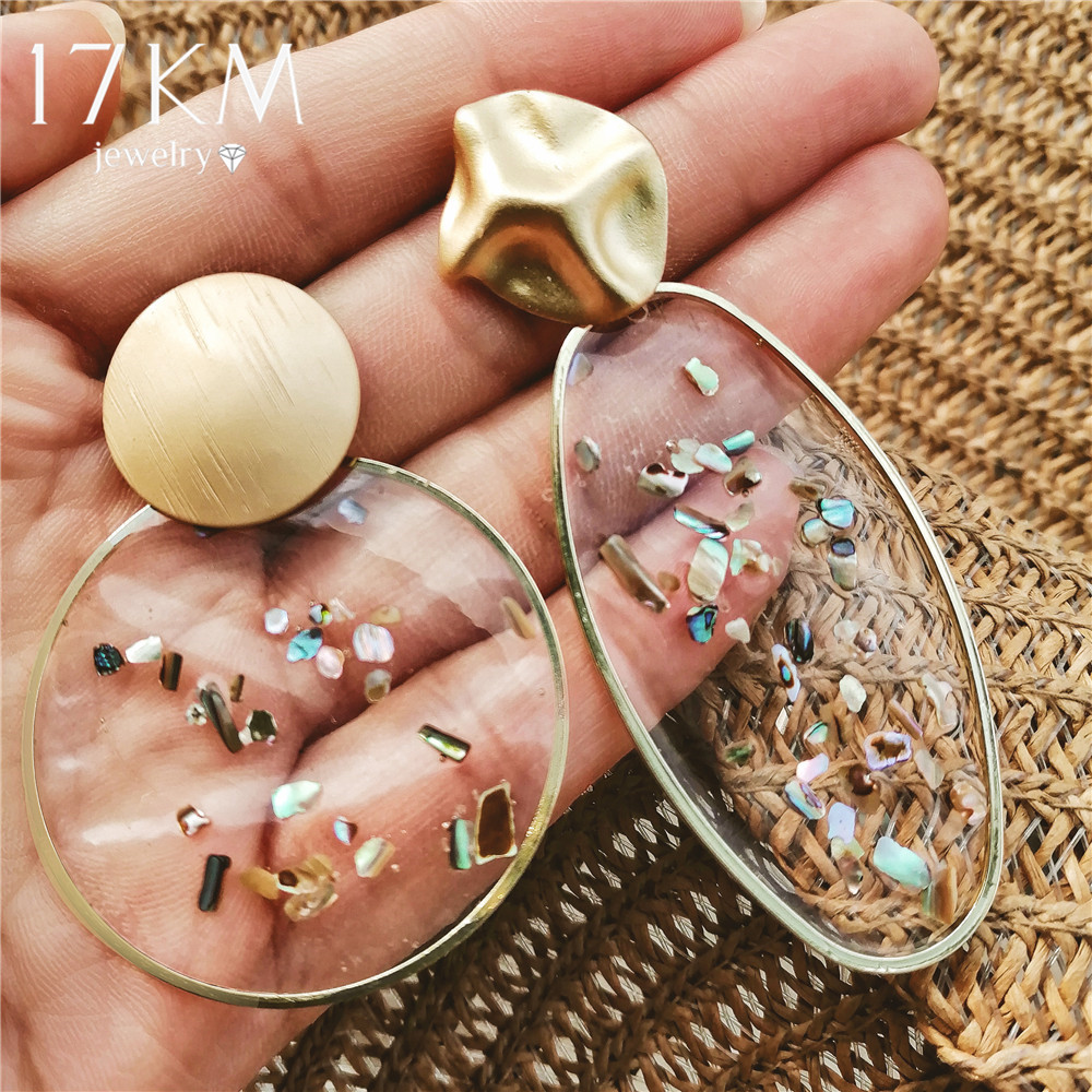 17KM Big Earrings Shell Oversized Korean Jewelry Geometric Boho Gold Resin Women Fashion