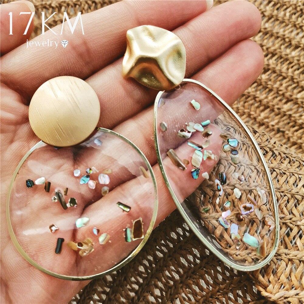 17KM Grandes Brincos 2019 Oscila Brincos de Resina de Grandes Dimensões Para As Mulheres Boho Shell Ouro Geométrica Brinco Gota Moda Jóias Coreano