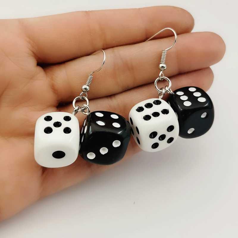 1 pair Funny Acrylic 3D Dice Pendant Earrings Dangle Punk Women JewelrRSH5