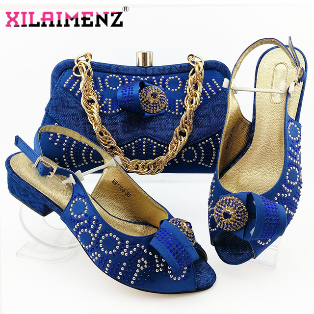 Comfortable Heels African Women Shoes and Bag to Match in Royal Blue Color Italian Style with Evening Bag Matching Shoes and Bag