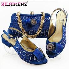 Zapatos de tacón cómodos para mujer africana y bolso que combinan con el estilo italiano en Color azul real, zapatos de noche y bolso a juego