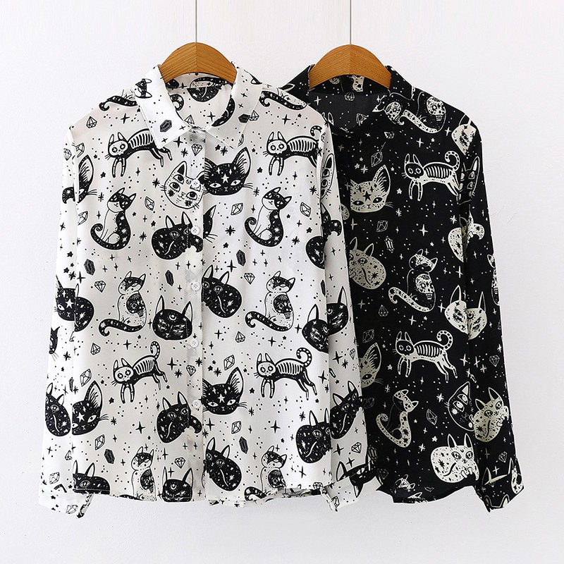 Women Shirt Cat Pattern Printed Personality Tops And Blouses Fashion Office Lady Long Sleeve Shirt White Black
