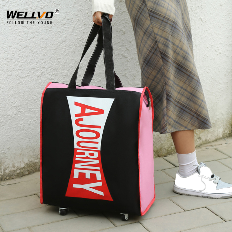 Portable Travel Bag Rolling Suitcase Luggage Aviation Checked Bag Mobile Rolling Shoulder Bags Oxford Cloth Bag With Wheel X50C