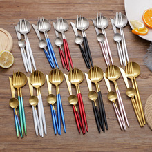4PCS Stainless Steel Cutlery Set Fork Spoon Tableware Western Food Luxury Teaspoon Knife