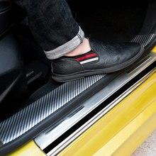 Car Styling 5D Carbon Fiber Rubber Stickers Door Sill Protector For Ford Toyota BMW Audi Mazda KIA Hyundai Honda  Accessories 1m carbon fiber rubber styling door sill protector bumper strip diy door sill protector for kia for toyota for bmw accessories