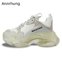 2020 Translucent Thick Heel Sneakers Cross tied Patchwork Heel Increasing Trainer Shoes Woman High Increasing Zapatos De Mujer
