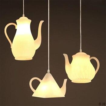 Креативный чайник из смолы, светодиодный подвесной светильник для ресторана, кафе, Арт, Подвесные лампы, домашний промышленный декор, освещ...