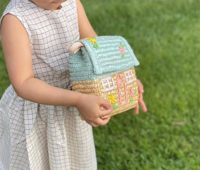 Nordic Handmade Rattan Vintage Storage Basket Kids Shoulder Bag House Shape Children Room Candy Storage Basket Bags Home Decor