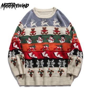 Hiphopowy sweter swetry swetry męskie łoś bożonarodzeniowy Snowman Santa swetry swetry Harajuku z wycięciem pod szyją w stylu Casual swetry damskie tanie i dobre opinie HIP HOP COTTON CHINA Jesień I Zima Unisex knit pullover W stylu rysunkowym Dziergany komputerowo Z okrągłym kołnierzykiem