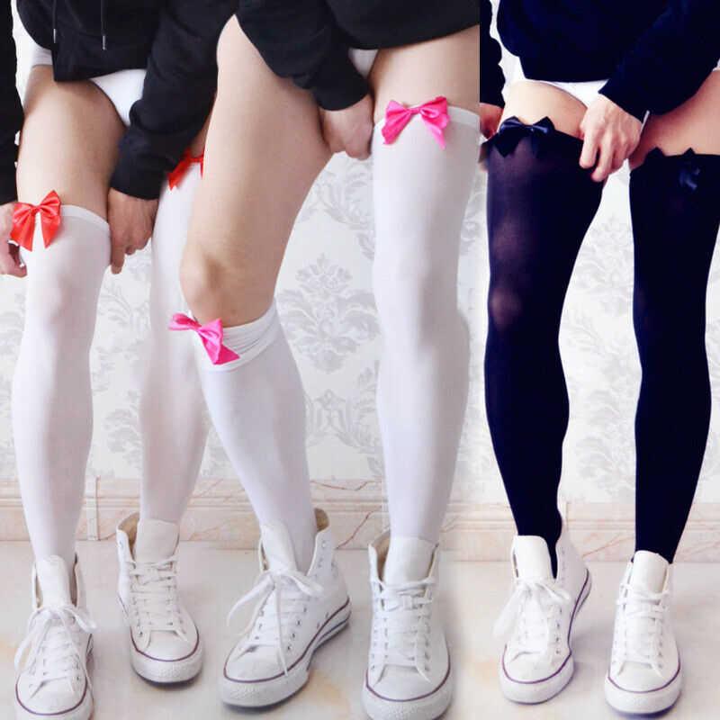 Men Socks Thigh  Ribbon Lingerie Sexy Long Club Wear High Stockings Knee Hosiery