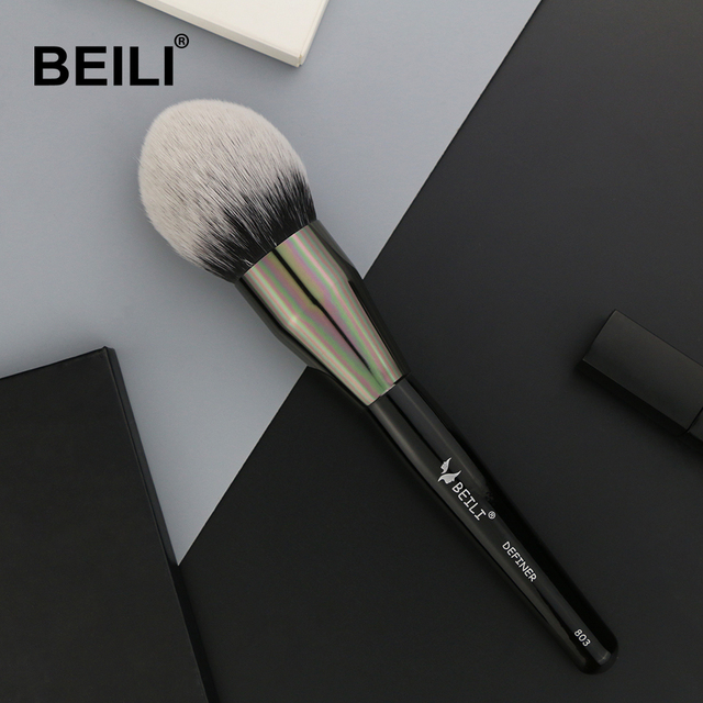 BEILI Black Big Powder Blush Definer soft Synthetic Hair Makeup Brushes Foundation Highlighter Fan Brush Eye Shadow Cruelty Free 1