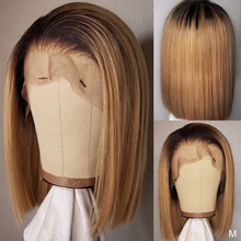 Human-Hair Wigs Short-Bob Leached Honey-Blonde Lace-Front Brazilian Full-Pre-Plucked