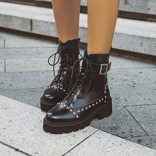 Women Ankle Boots Mid Heels Lace Up Shoes Woman Chaussure Za
