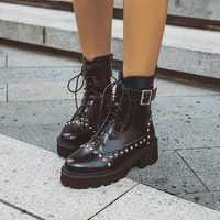 Bottines femme mi talons chaussures à lacets femme Chaussure Zapatos Mujer gladiateur plateforme Vintage PU cuir bottines WXZ248