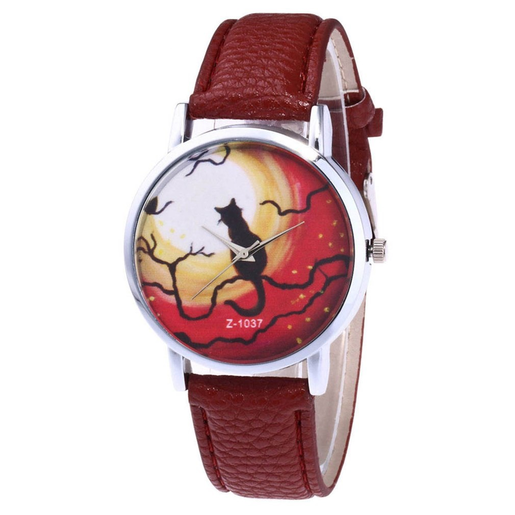 Cute Cat Pattern Quartz Watch Women PU Leather Strap Round Dial Quartz Watches For Montre Femme Dropshipping