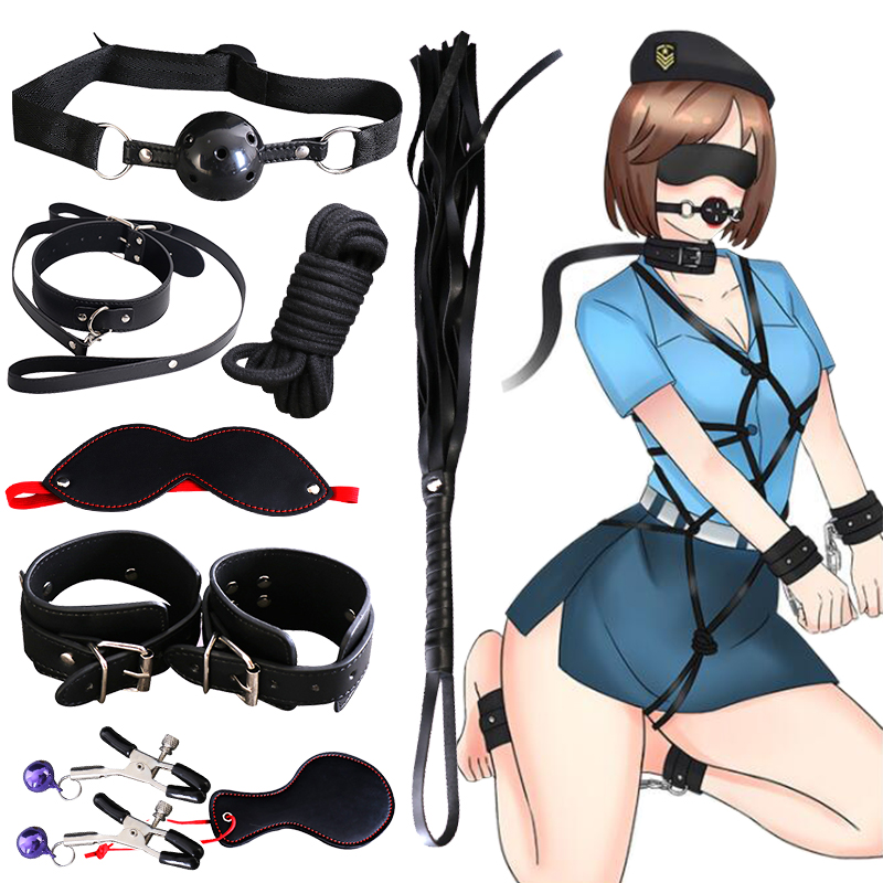 Vibrators 11 Pcs/Set Sex BDSM Bondage Butt Anal Rope Hand Cuffs Whip Blindfold Dildo Erotic Roleplay Restraints Sex Toy Adult