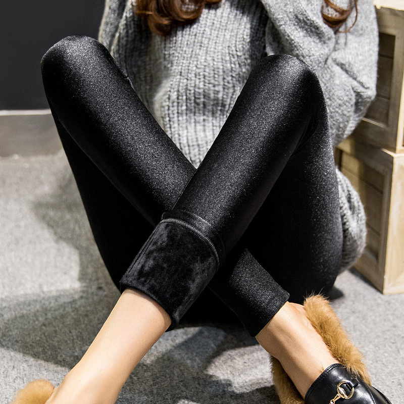 2019 Winter Women Warm Cashmere Pants  Thick Pant Black Shine Slim Stretch Capris Trousers Lady Large Yard Plus Size 3XL 4XL 5XL