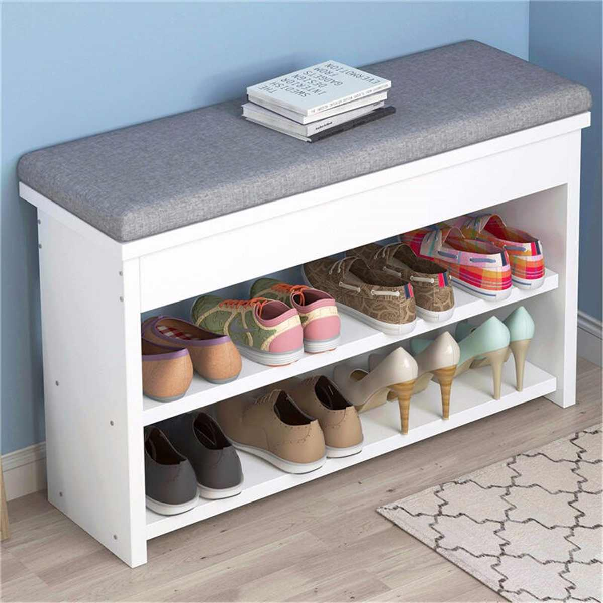 2 Tier Shoe Storage Stool Living Room Shoe Rack Simple Change Shoe Bench Organizer Cabinet Hallway Seat Chair Shelf Holder