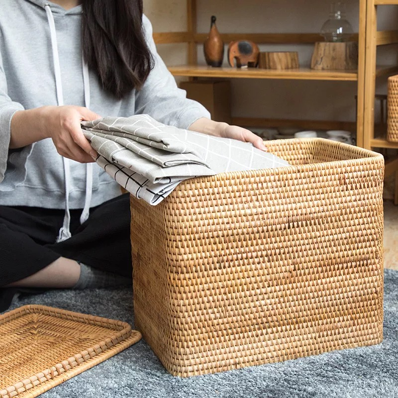 Image 4 - Laundry Basket Wicker Large with Cover Rattan Woven Rattan  Storage Basket with Lid for Dirty Clothes Toys Sundries Storage  Boxbasket with lidstorage basket with lidlaundry storage basket -