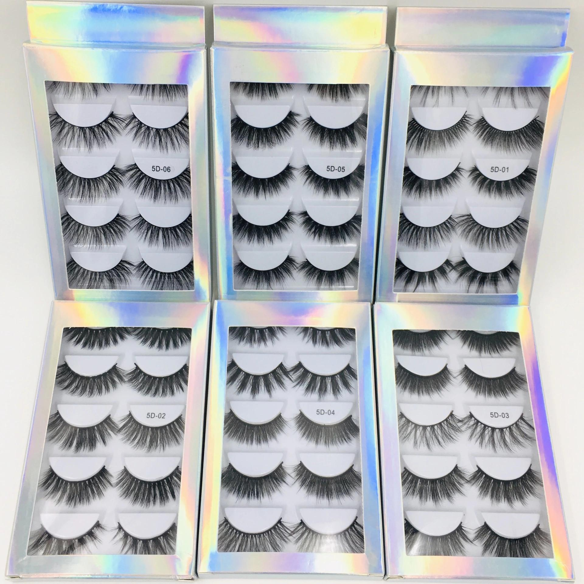5pairs Multipack 3D Soft Mink Hair Handmade False Eyelashes Fluffy Long Eyelashes Natural Eye Makeup Tools Eye Imitation Eyelash