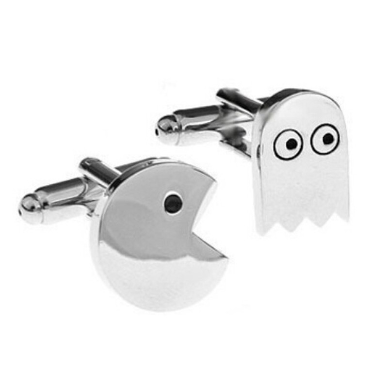 Pacman&Ghost Cufflink Stainless Metal Cuff Buttons Pins Shirt Cuff Links For Men Women Fashion Jewellery