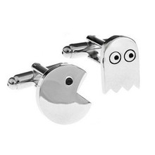Pacman&Ghost Cufflink Stainless Metal Cuff Buttons Pins Shirt Cuff Links For Men
