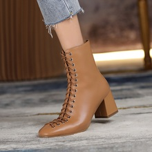Ankle-Boots Genuine-Leather Cross-Tied Handmade High-Heels Winter New-Fashion Autumn