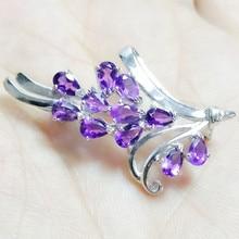 Брошь на булавке с натуральным аметистом и цветами,, серебро 925 пробы, прекрасный Фиолетовый Кристалл, 0.25ct* 9 шт., драгоценный камень C91133