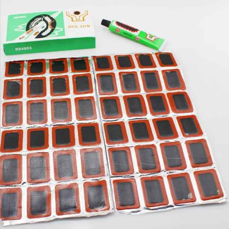 48 Pcs Mountainbike Fiets Reparatie Tools Fietsen Tire Reparatie Rubber Patch Lijm Hendel Set Band Fix Reparatie Kit 25mm Reparatie Tools