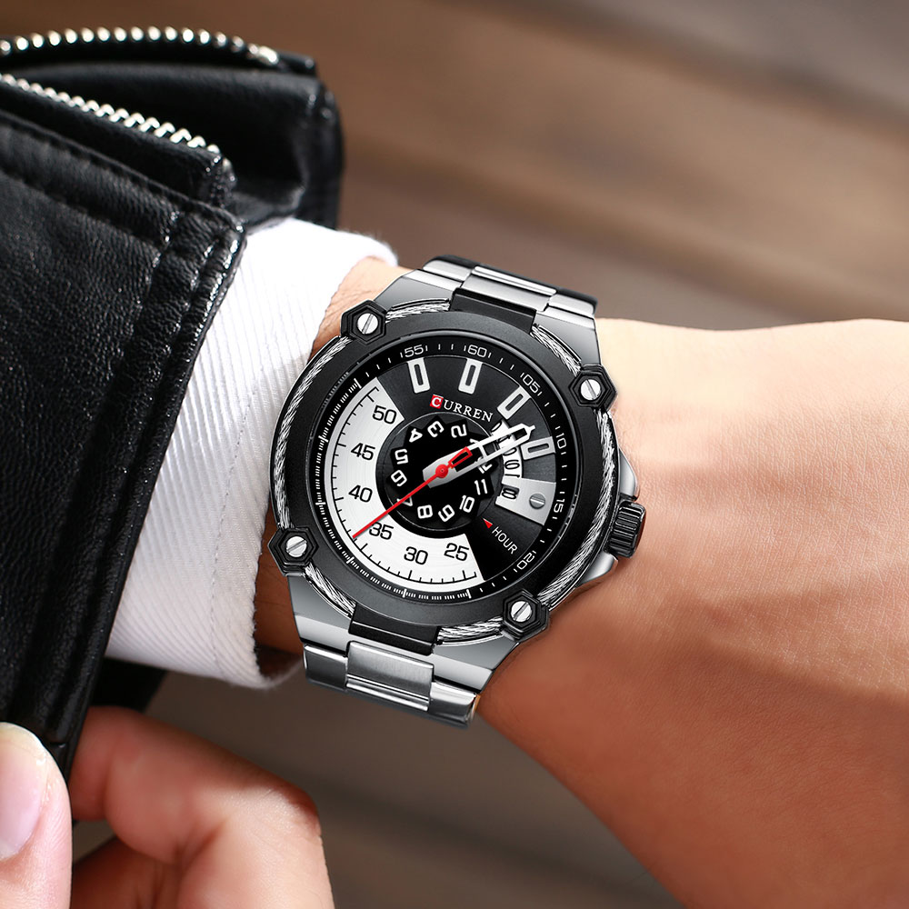 H5bd93fefbd624108bce27b7f9290577ei CURREN Watch Silver and Black Watches Men's Quartz Wristwatch