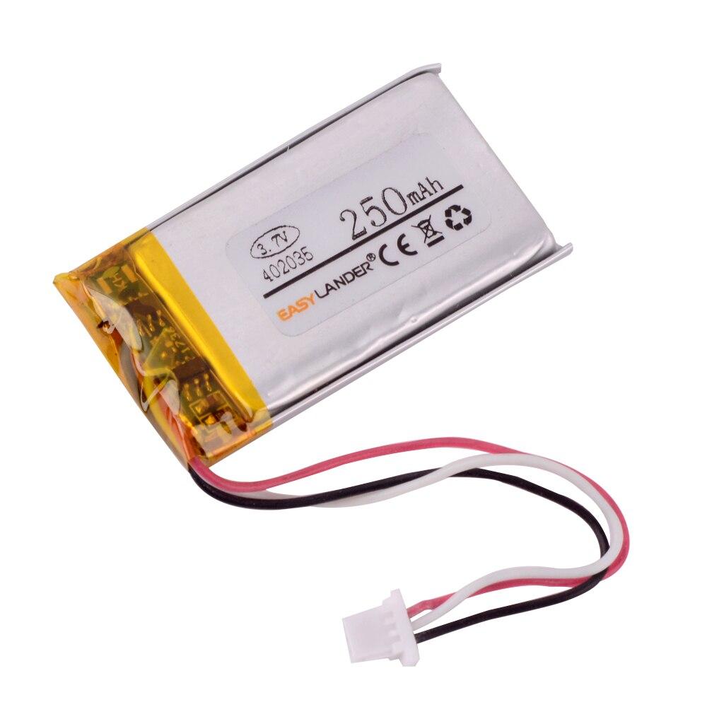 Литий-полимерный аккумулятор 3,7 в 250 мАч для GPS DVR MP3, спортивной камеры, вождения, динамика, YI DVR 042035 402035 CP5/21/36