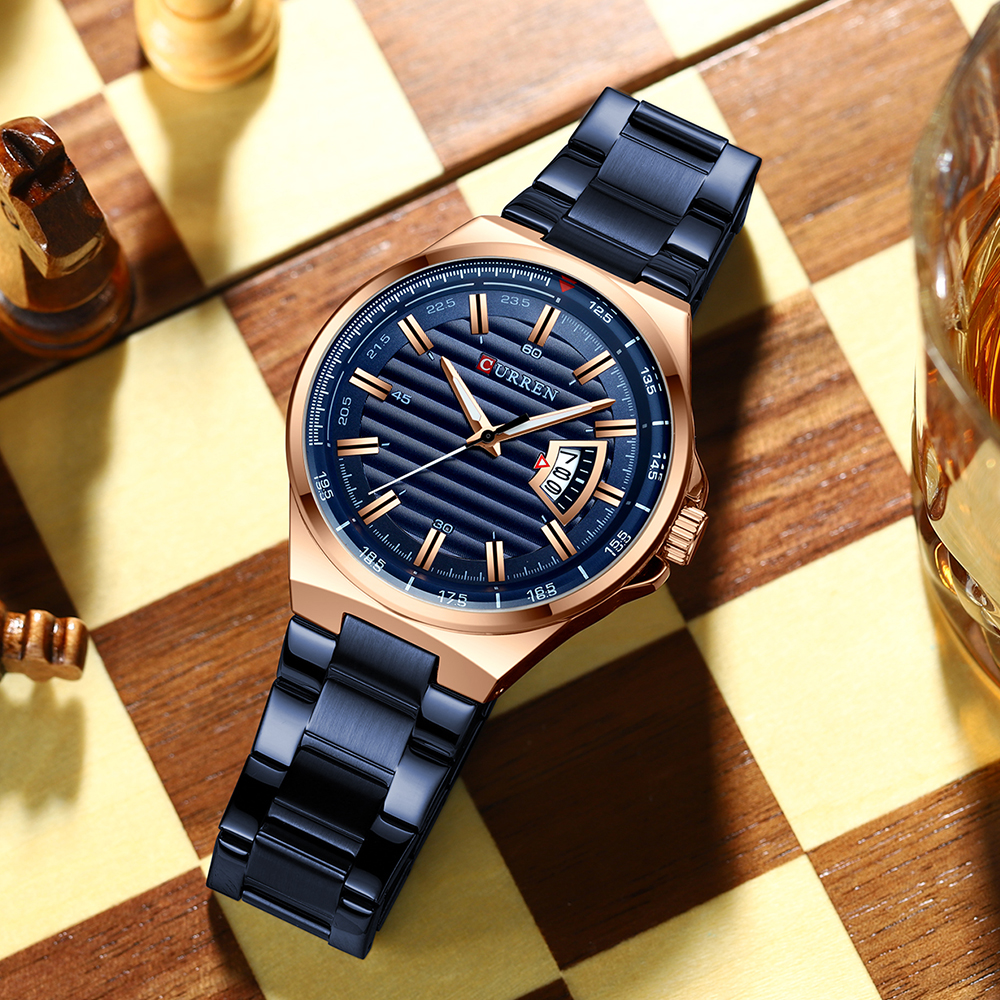 Image 5 - CURREN Brand Men Watches Luxury business Quartz wristwatches Fashion Mens Stainless Steel Band Auto Date clock RelojesQuartz Watches   -