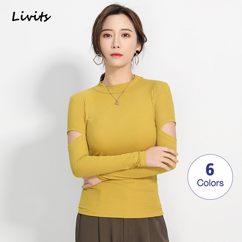 Women's T-Shirts Tshirts Tops Modal High Neck Long Sleeve Off Shoulder Elasticity Korean Sexy Casual Solid Color