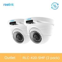 [Renoviert Kamera 2 Pack] Reolink Sicherheit Kamera Dome SD Karte Slot Nightvision Video RLC-420-5MP Outdoor Kamera