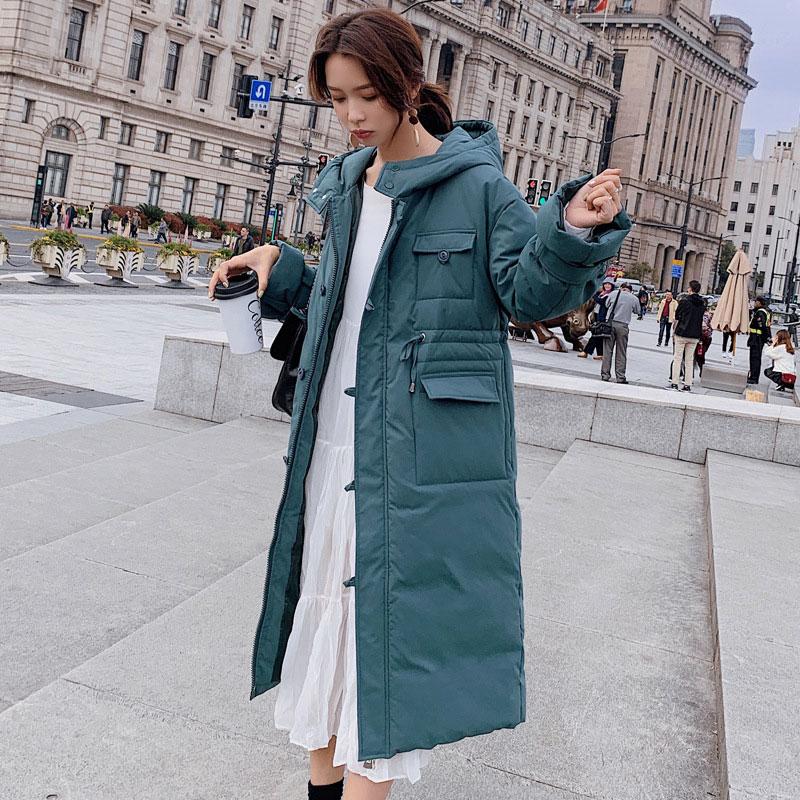 Women X-long Hooded Bakery Oversize Winter   Down     Coat   Thick Warm Jacket Cotton Padded Wadded Parkas Big Pocket