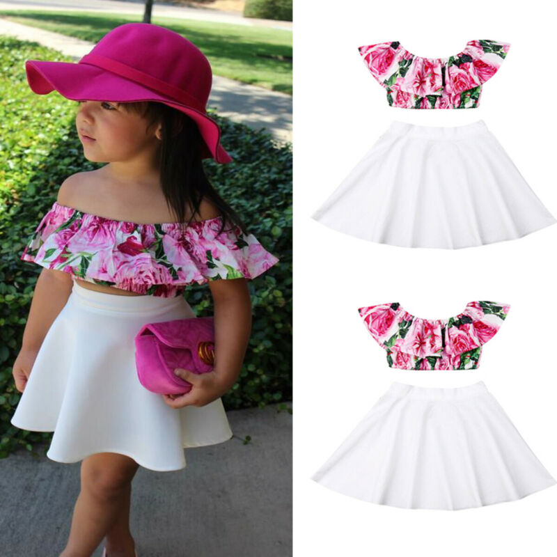 2PCS Newborn Toddler Baby Girl Summer Clothes Set Floarl Print Off Shoulder Tops+Solid Skirt Dress Outfits Set  Fashionable 1-6T