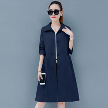 Autumn 2019 female loose trench large size Slim long windbreaker spring Fall ove