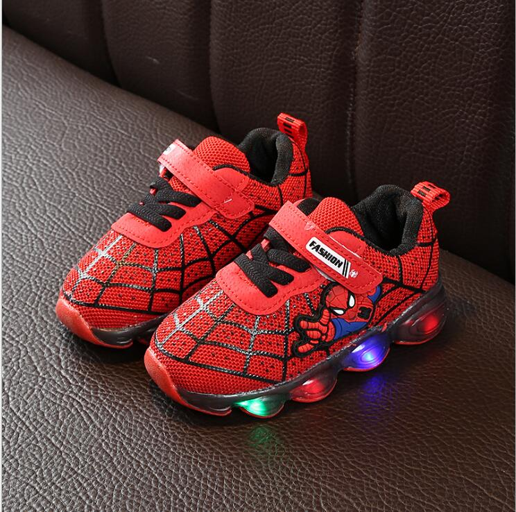 Hot Kids Mesh LED Flashing Shoes Baby Casual Cartoon Boys Spider Man Shoes Children's Luminous Sneakers