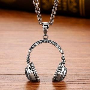 Image 3 - Zabra Gothic Solid 925 Sterling Zilver Muziek Headset Hanger Ketting Voor Mannen 70*32 Mm Vintage Fashion Biker Mannelijke sieraden