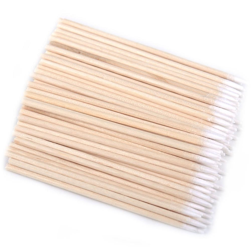 100pcs/bag Cotton Buds Swabs 7/10cm Long Wooden Handle Makeup Swabs Swab Makeup Cotton Tattoo Sticks Microblade Cotton Z2F9