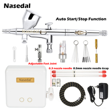 Nasedal NT 24W 0.2Mm Dual Action Auto Stop Airbrush Compressor 9cc 0.3Mm 0.5Mm Spuitpistool Voor model Makeup Nail Art Cake Auto