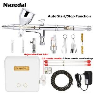 Image 1 - Nasedal NT 24W 0.2mm Dual הפעולה אוטומטי להפסיק Airbrush מדחס 9cc 0.3mm 0.5mm אקדח ספריי דגם איפור נייל אמנות עוגת רכב