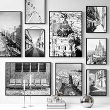 Madrid espanha arte da parede cartaz rua paisagem quadros em tela na parede cartazes e impressões para sala de estar decoração casa fotos
