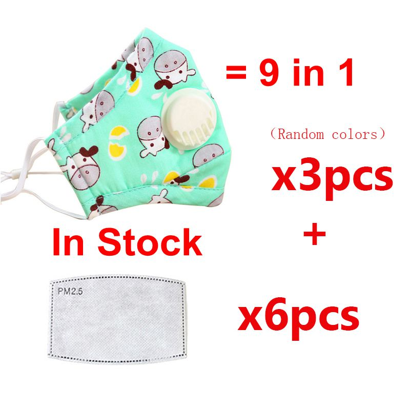 Children Mask PM2.5Mouth Mask Respiratory Valve Cartoon Pattern AntiVirus Mask Warm Dust Mask Fits In Stock Support Dropshipping