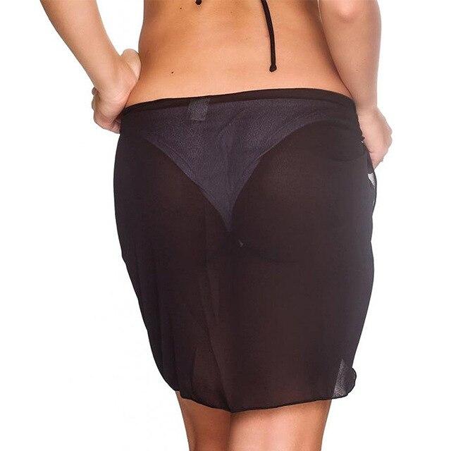 15 Colors Sexy Swimwear Women Beach Skirt Solid Color Chiffon Cover Up Bikini Wrap Beach Sarong For Swim Bathing Suit Swimsuit 2