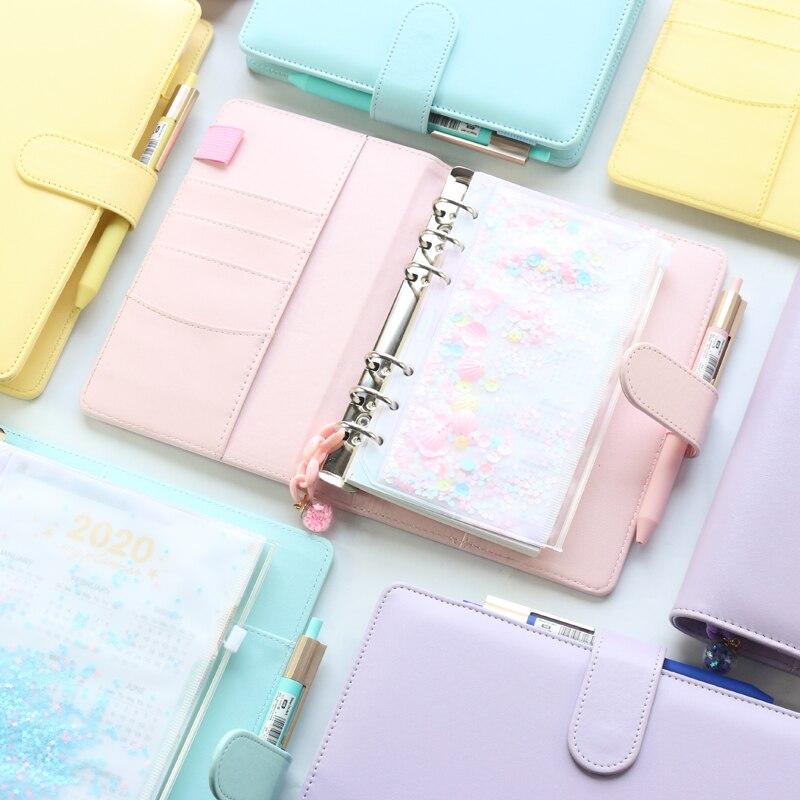 2020 nova escola de escritório macaron espiral notebooks papelaria, bonito pessoal agenda agenda planejador semanal agenda organizador, ouro rosa, a5a6